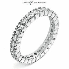 925 silver CZ 3mm eternity wedding anniversary band ring size 4 5 6 7 8 9 10