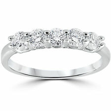 G/SI .45CT  Five Stone Diamond Wedding Ring 14K White Gold Size (4-10)