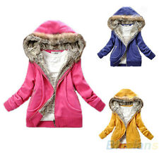 Korean Fashion Winter Womens Warm Faux Fur Lining Hooded Outwear Coat Jacket B94