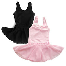 NWT Girl Black Pink Dance Gymnastics Sleeveless Dress Leotard with skirt 1-12