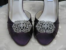 Eggplant Wedding Shoes Ivory or White Bridal Shoes Sparkling Vintage Brooch