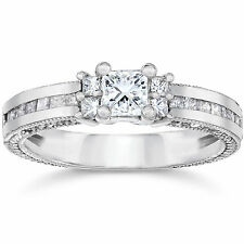 1.00CT Princess Cut REAL Diamond Engagement Ring 14K White Gold Size (4-9)