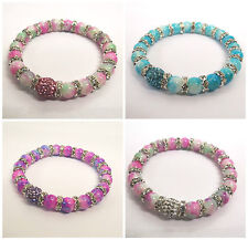 10MM & 12MM CRYSTAL CLAY BALL WITH GLASS BEADS SHAMBALLA STYLE STRETCH BRACELETS