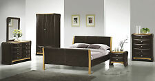Double Bed Faux Leather Sleigh Bed NEW 4ft6 Brown Bed - Half Price! Memory Foam!