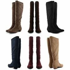 NEW LADIES WOMENS FAUX SUEDE KNEE HIGH LONG BOOTS BIKER PIXIE SHOES UK SIZE