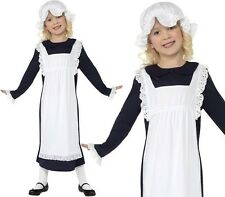 Childrens Girls Fancy Dress Poor Victorian Girl Costume S M L Navy/Wht 1st Class