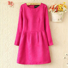 HOT SALE! 2014 New Spring Outfit Stereo Convex Pattern Slim Long Sleeve Dress