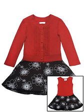 RARE EDITIONS NEW GIRLS RED / BLACK FLORAL DRESS w / RED SWEATER
