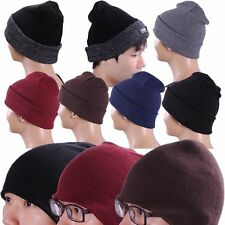 Beanie Knit Ski Cap Skull Hat Warm Solid 5 Colors Winter Cuff Beany Men's Womens