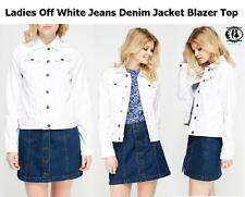 LADIES SUMMER WHITE DENIM JEANS JACKET BLAZER BLUE COWBOY BIKER TOP SIZE8-18 VTG