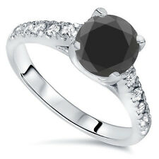 3.60 TCW 14K White Gold Round AAA Halo Black Diamond Engagement Ring Size 4-9