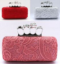 Skull Rings Lace Women Bride Cocktail Party Evening Clutch Bag Handbag Purse