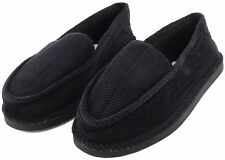 Mens Slippers Black House Indoor Comfort Shoes Corduroy Moccasin Slip On Outdoor