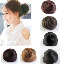 Girls Women Clip-on Dish Hair Bun Extension Tray Ponytail Hairpiece Scrunchie
