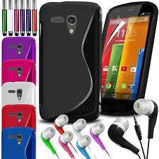 S Line Wave Gel Skin Case Cover, LCD Film, Pen & Earphone For Motorola Moto G