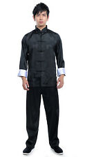 Traditional Men's kung fu Tai-chi Silk Suit Jacket + pants SZ: M--XXXL Blacks
