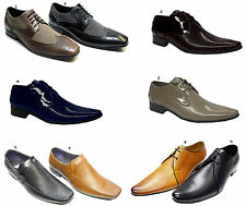 Mens Italian Designer Voeut Shoes Leather Look Shiny Pointed Lace Up & Slip On