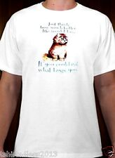 """KITTEN """"IF YOU COULD EAT WHAT BUGS YOU"""" T-SHIRT WHITE SIZES SMALL TO 4XL NEW!!"""