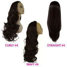 Ladies 3/4 WIG Half Fall Clip In Hair Piece Dark Brown #4 Stunning Styles