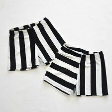 "WOMENS BLACK & WHITE STRIPE VOLLEYBALL COMPRESSION SHORTS 3"",4"", 6"" INSEAM NWOT"