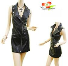 Women Gothic Pleather Studded Spikes Motorcycle Bodycon Faux Leather Vest Dress