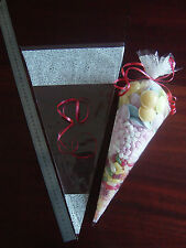 """Cone, Cellophane clear bags 18.5"""" x 10"""", party sweet / candy bags, FREE RIBBON"""