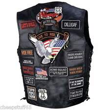 Black Buffalo Leather Biker Motorcycle Vest with 42 Embroidered Patches MED -3XL