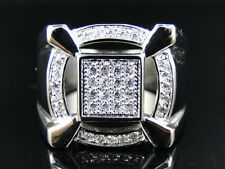 New Mens 3D Claw Stainless Steel Simulated Diamond Pinky Ring White Gold Finish
