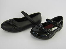 GIRLS SPOT ON BLACK SHOE WITH VELCRO FASTENING (2 MATERIALS ) H2281