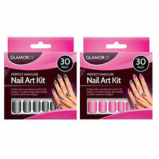 30 Pcs Perfect Manicure Nail Art Kit with 12 x  False Nails,File,Glue,Stickers.
