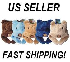 New Baby Winter Insulated Warm Soft Fuzzy Bear Animal Beanie Hat 5 colors