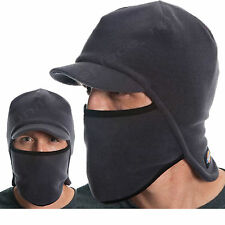 Dickies Hats Men's Fitted Billed Balaclava Polar Fleece Ski Face Mask Beani Gray