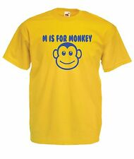 M FOR MONKEY funny present NEW Boy Girls Kids size T SHIRT TOP Age 1-15 Years