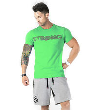 STRONG LIFT WEAR Slim Fit P&P tee gym t-shirt Mens top Bodybuilding fitted
