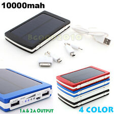 Solar Power Panel Dual USB External Mobile Battery Charger 10000mAh Power Bank