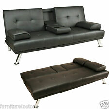 Italian Faux Leather Folding Sofa Bed & Drinks Holder in Black,Brown,Red, Cream