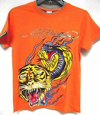 Ed Hardy Boys Roaring Tiger Serpent Battle  tee shirt premium shirt gray trim