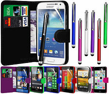 PU Leather Wallet Flip Case Cover Pouch, Film & Stylus For Various Handsets