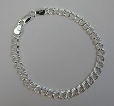 6,7, 7 3/4, and 8 inch Sterling Silver 5mm Charm Link Bracelet. Pure 925 Italian