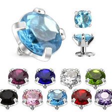 COOLBODY PIERCINGS Dermal Anchor Top Round Cubic Zirconia 9 Colors 3 Sizes