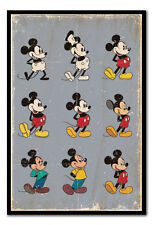 Framed Mickey Mouse Evolution Poster Ready To Hang - Choice Of Frame Colours