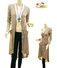 Women Khaki Hi-Lo Button Up Long Tunic Dress Peasant Sweater Cardigan Top S M L