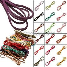 36Colour 3mm Faux Suede Cord Craft Lace Leather Flat DIY Rope String Necklace 1m