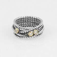 Genuine Solid Sterling Silver & Gold Clear CZ Bubble Twist Band Ring