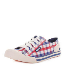 WOMENS ROCKET DOG JAZZIN CHECK IT OUT RED GINGHAM COTTON TRAINERS SHOE SIZE 3-8