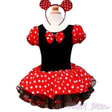 Girls Kids Baby Minnie Mouse Costume Ballet Dance Tutu Dress + Headband Sz 1-9