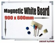 NEW MAGNETIC DRY WIPE WHITE NOTICE BOARD +  FREE ACCESSORIES 120x90 OR 90x60 CM