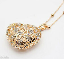 Free shipping!Silver gold plated heart crystal charm necklace long chain 2 color