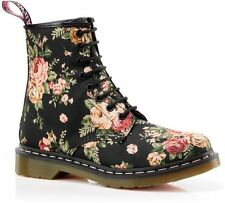 NEW! DOC Dr. Martens 1460 Womens Print - Black Victorian Flowers - ALL SIZES!