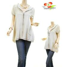 Women Retro Lace Perforated Sleeve Asymmetric Tunic Hoodie Cardigan Sweater Top
